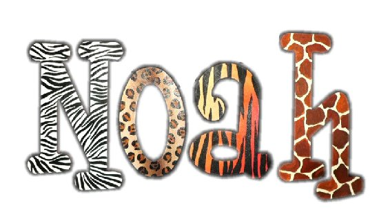 Wild Animal Print Wooden Wall Letters Detailed Photos