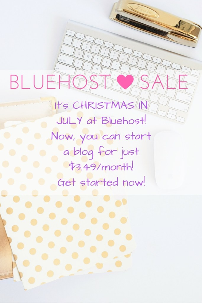 Bluehost SALE! It's Christmas in July at Bluehost! Start a blog for just $3.49/month for 36 months now through Monday, July 18. Blogging has changed my life in just a few short years, and it can change yours, too.