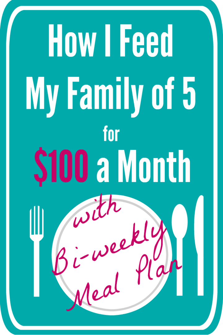 How I Feed My Family of 5 for $100 a Month with Bi-weekly Menu Plan. thefundamentalhome.com