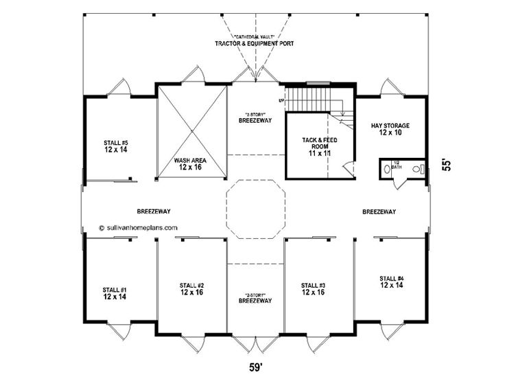 Horse Barn Plans Horse Barn Outbuilding Plan # 006B-0003 at - Copy Barn Blueprint 3