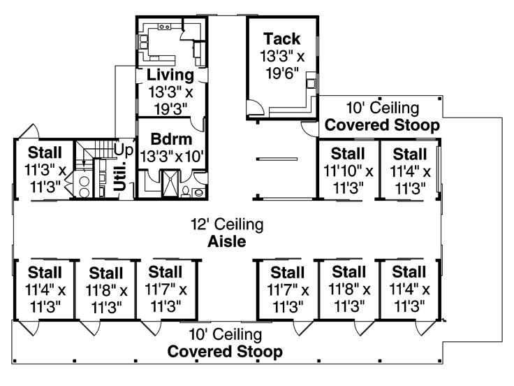 Barn Plan Outbuilding Plan or Barn Plan with Living Quarters - Copy Barn Blueprint 3