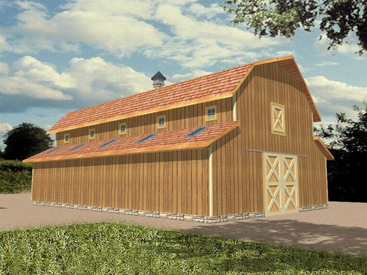 Outbuilding Plans Horse Barn Plan with Hay Loft and Storage Design - Copy Barn Blueprint 3