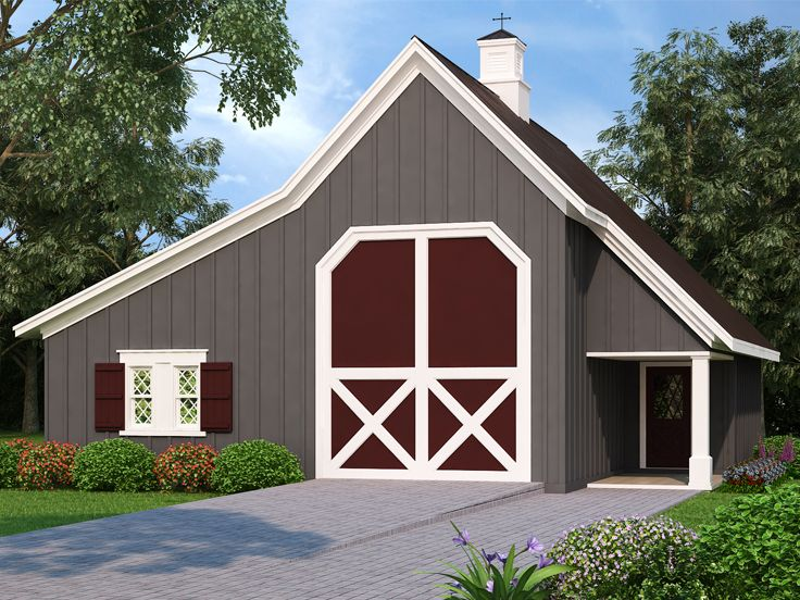 Outbuilding Plans Barn-style RV Garage with Storage Design # 021B - Copy Barn Blueprint 3