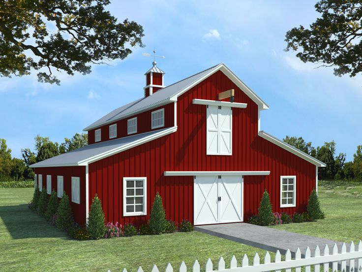 Barn Plans Horse Barn Plan with Living Quarters # 001B-0001 at www