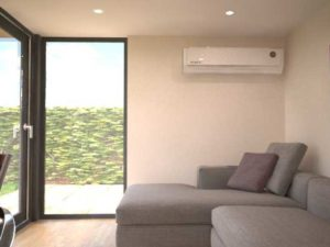Air conditioning units are very discreet in a garden room