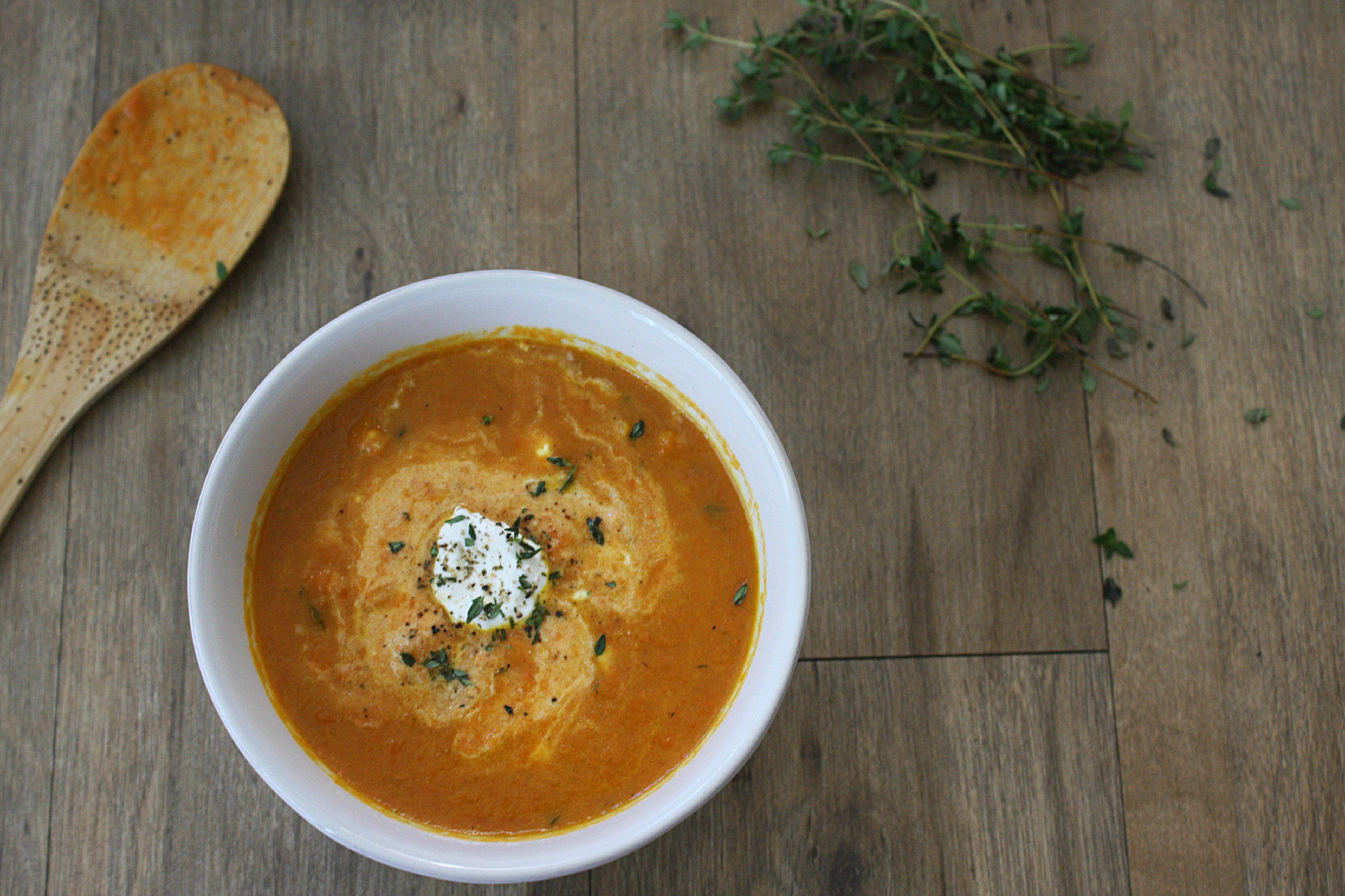 Roasted Carrot Soup with Ginger and Thyme