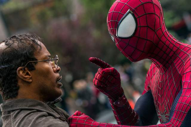 Jamie Foxx and Andrew Garfield as Spider-Man