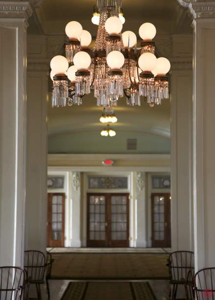 A chandelier in the main hall