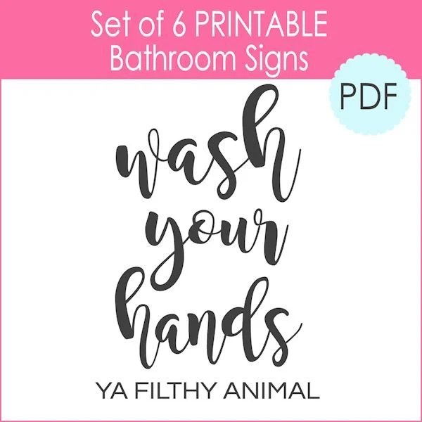 6 Printable Bathroom Signs (PDF) - The Girl Creative