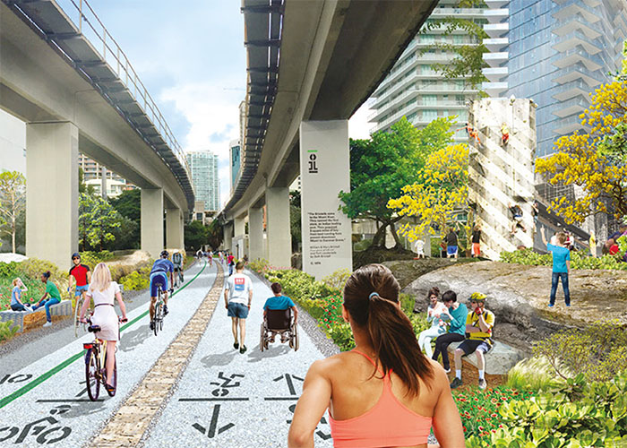 Corner aims to bring communities together through his work. The future approach to Brickell Station in Miami will be a gathering space for residents