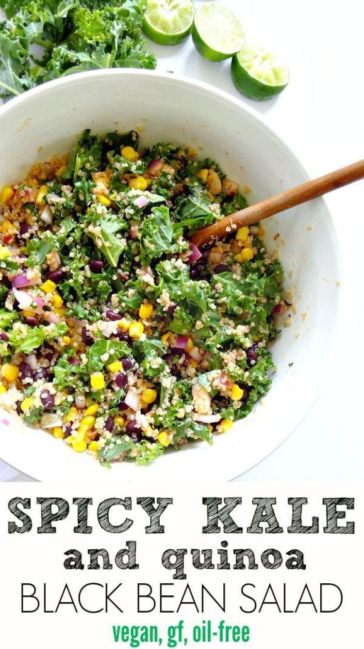 Spicy Kale and Quinoa Black Bean Salad - vegan, gluten free and oil ...