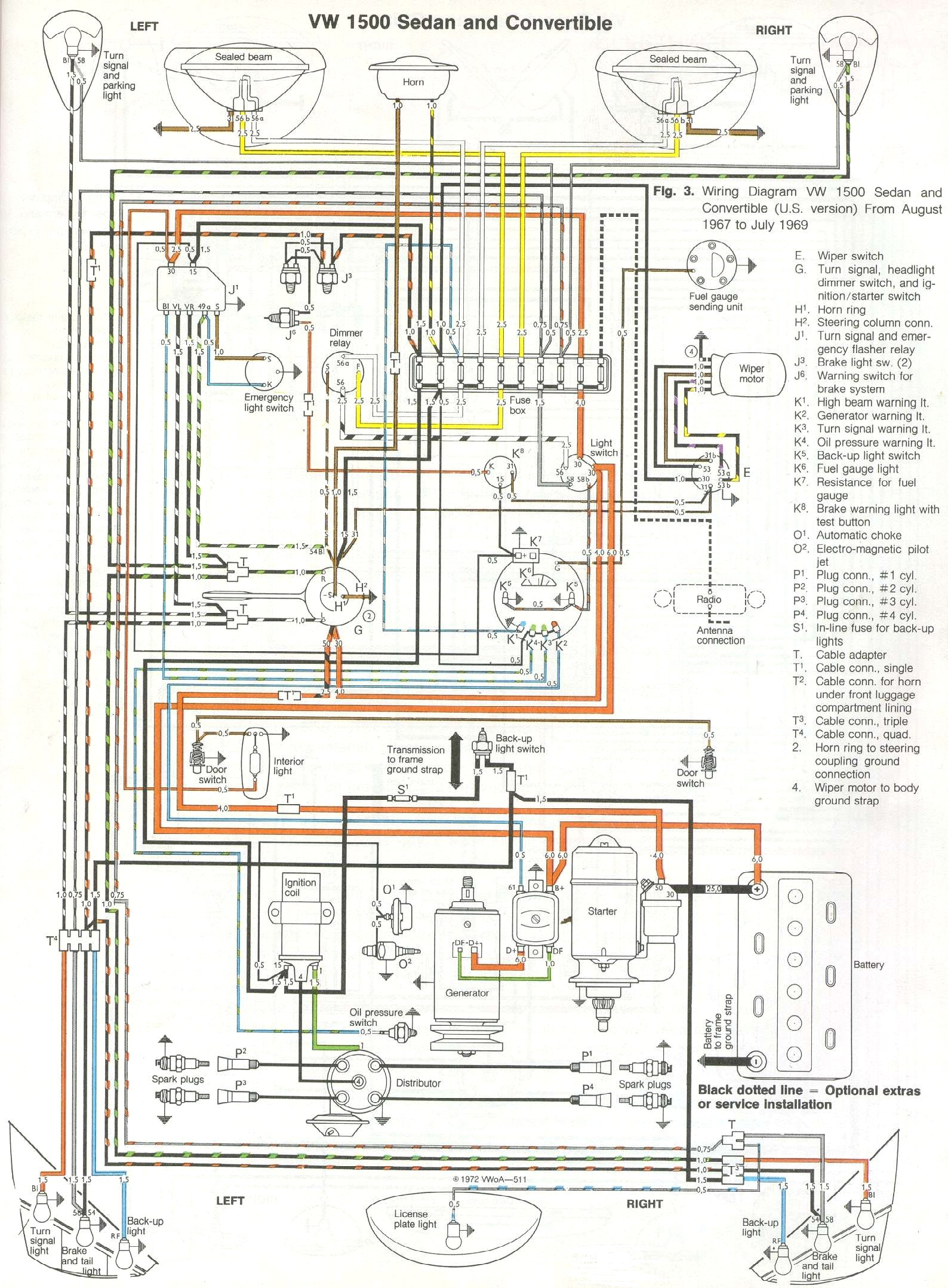 71 Vw Beetle Wire Diagram Auto Electrical Wiring Diagram 1971 VW Wiring  Diagram Colored 1973 Vw Wiring Diagram