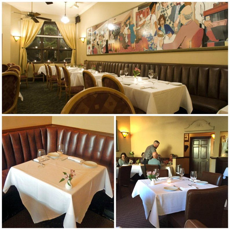 Starched white table cloths top the tables in the main dining room; table number 7 is still the favorite spot for an intimate dinner for two