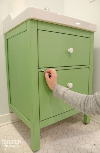 Green IKEA Custom Bathroom Vanity - The Golden Sycamore
