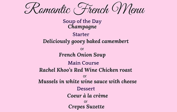 Romantic French Menu  The Good Life France