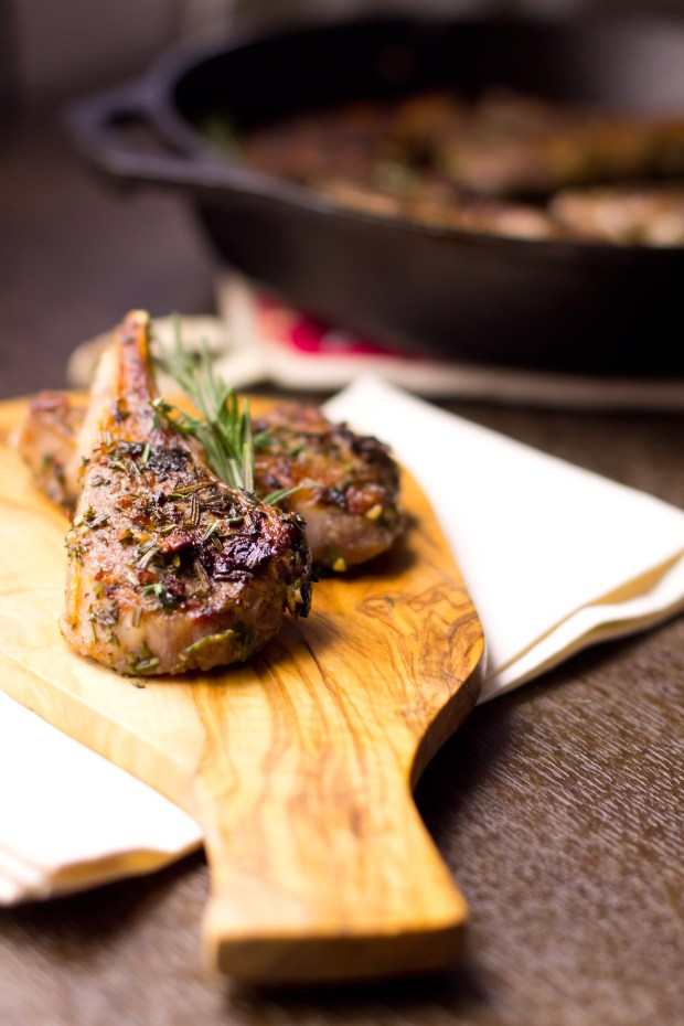 Flavorful lamb chops slathered with herbs and garlic, pan seared to ...