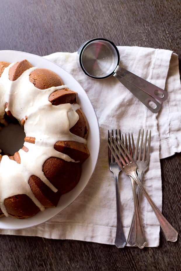 Deliciously spiced Gingerbread Bundt Cake with maple glaze. Your new favorite holiday treat.