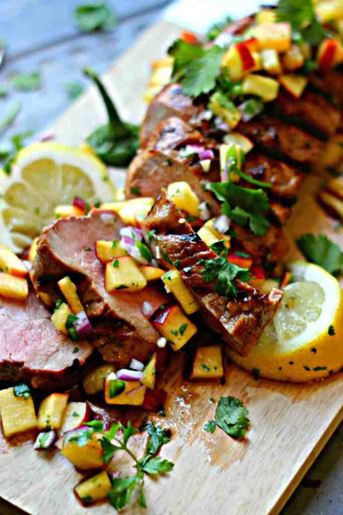 Bourbon Peach Pork Tenderloin + Fresh Peach Salsa