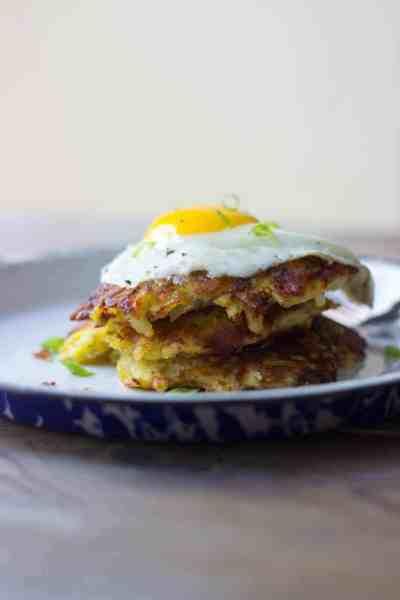 Crispy Hash Brown Haystacks + Fried Eggs