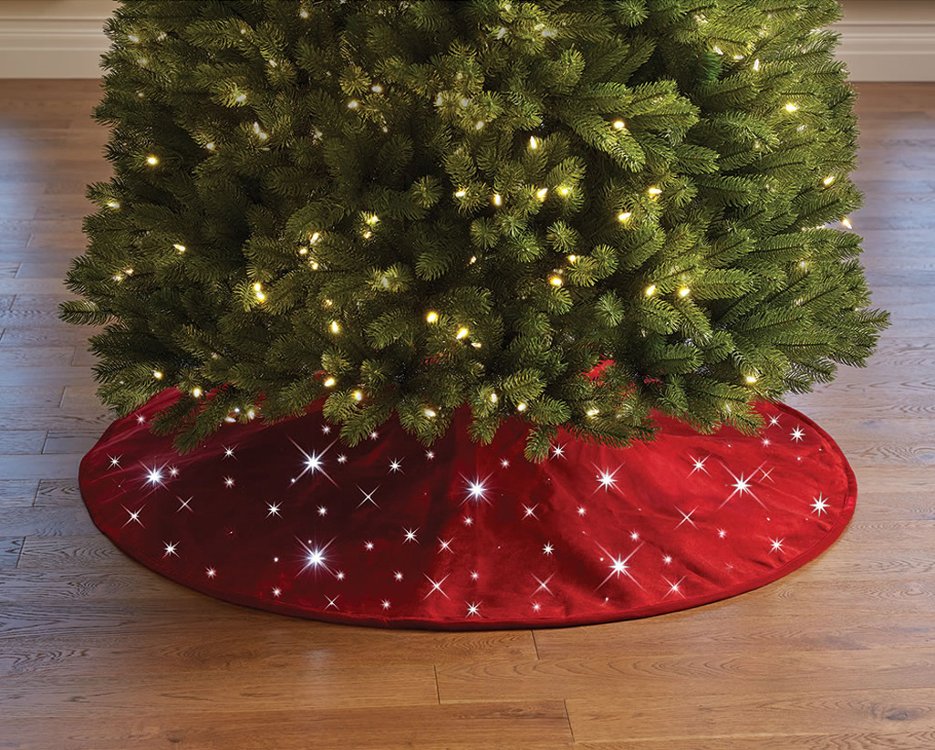 Thrifty Cordless Twinkling Tree Skirt Cordless Twinkling Tree Skirt Green Head Tree Skirt Quilt Pattern Free Tree Skirt Crochet houzz-02 Christmas Tree Skirts