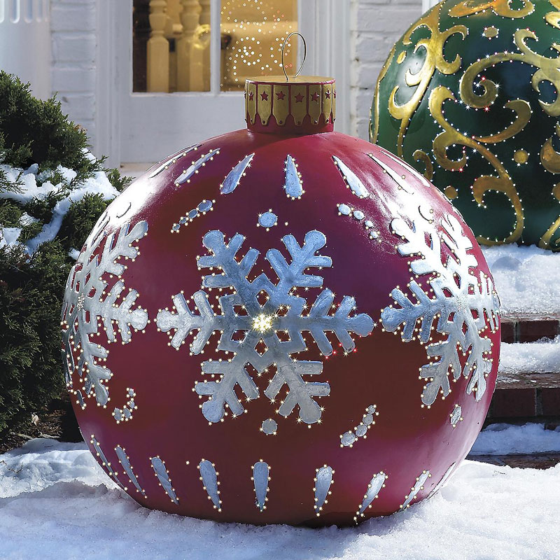 Massive Outdoor Lighted Christmas Ornaments - The Green Head - christmas decorations outside