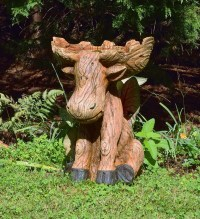 Rustic Moose Birdbath - The Green Head
