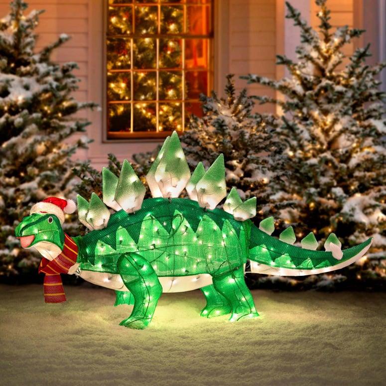 Animated Stegasaurus Dinosaur Christmas Decoration - The Green Head - christmas lawn decorations