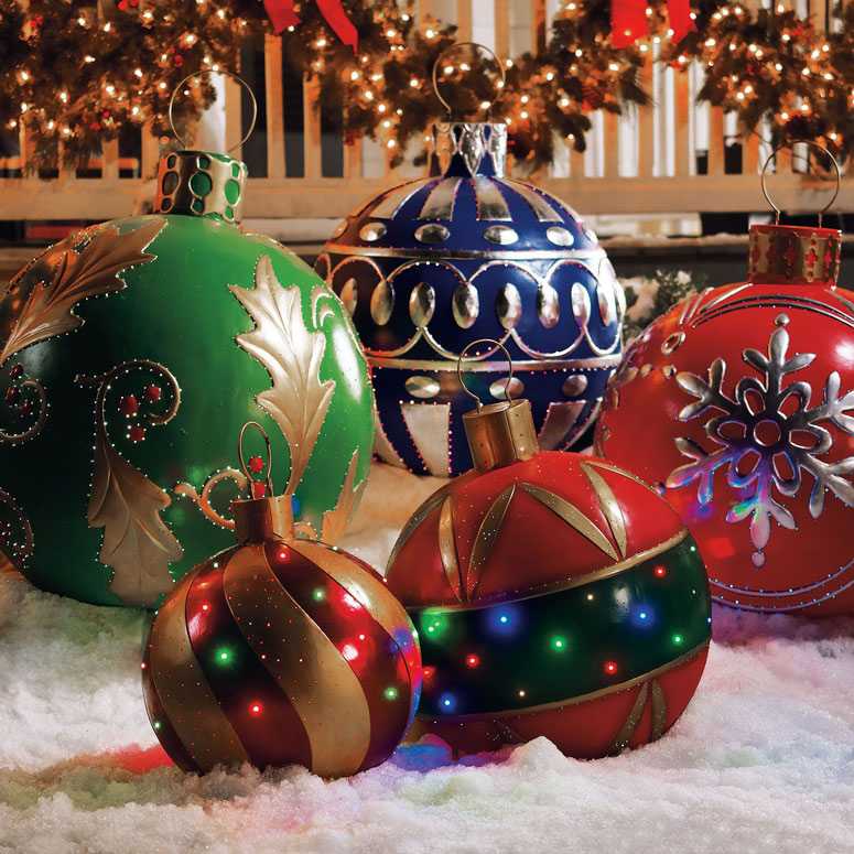 Giant Outdoor Lighted Ornaments - The Green Head - lighted outdoor christmas decorations
