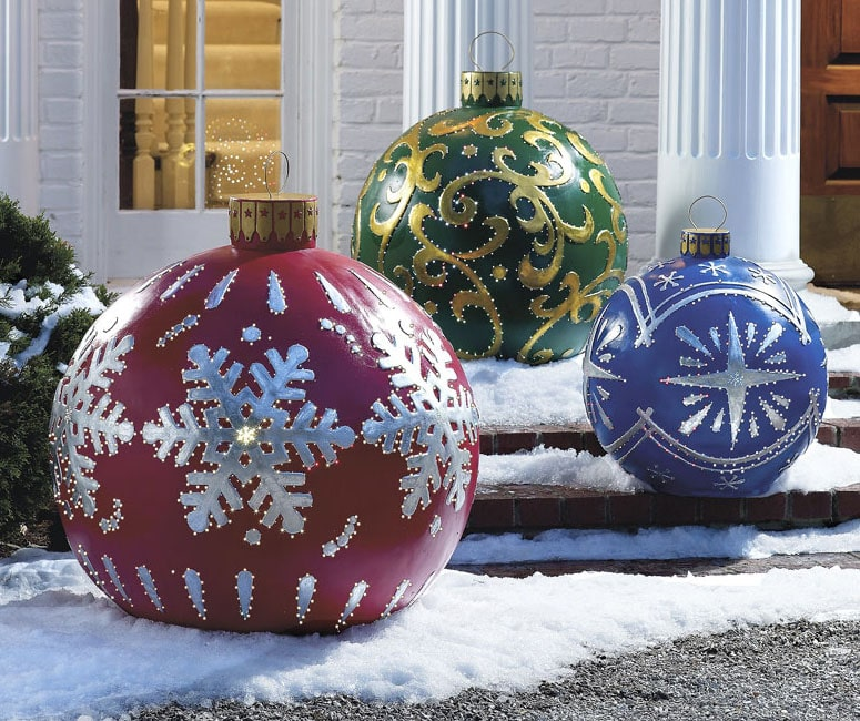 Massive Outdoor Lighted Christmas Ornaments - The Green Head - lighted outdoor christmas decorations