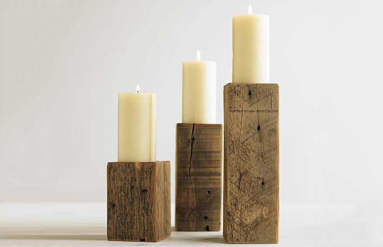 Rustic Timber Candleholders