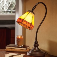 Tiffany-Style Stained Glass Mission Desk Lamp - The Green Head