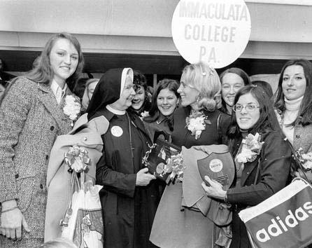 """Immaculata College's 1972 team was the first of three teams Cathy Rush led to consecutive national titles. """"There was a lot of Divine Providence from the beginning,"""" team leader Theresa Shank Grentz said. """"The sisters formed us."""""""