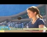 Katherine Bauman reads at Rio. EWTN photo.