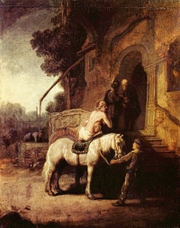 Rembrandt's depiction of the Good Samaritan arriving at the inn.