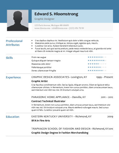 Free Resume Templates For Word - The Grid System - Resume With Photo Template