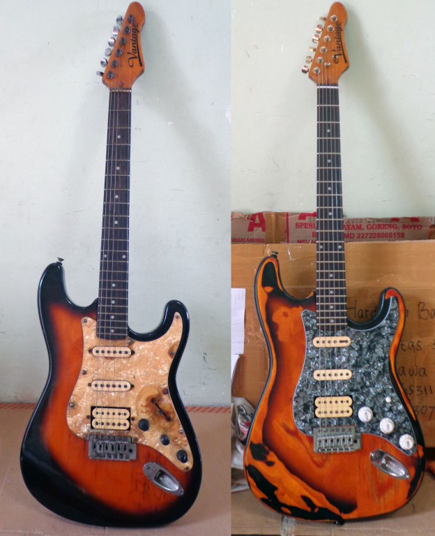 relic guitar Vantage Stratocaster vie 10 before after