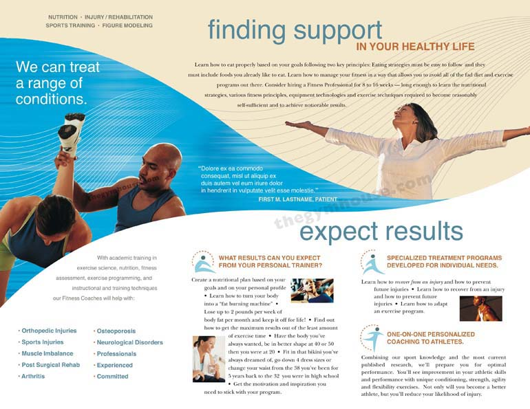 Gym Brochure Blue Wave A Printer for Gyms and Personal Trainers