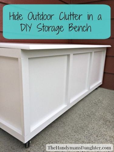 Hide Outdoor Clutter in a DIY Storage Bench