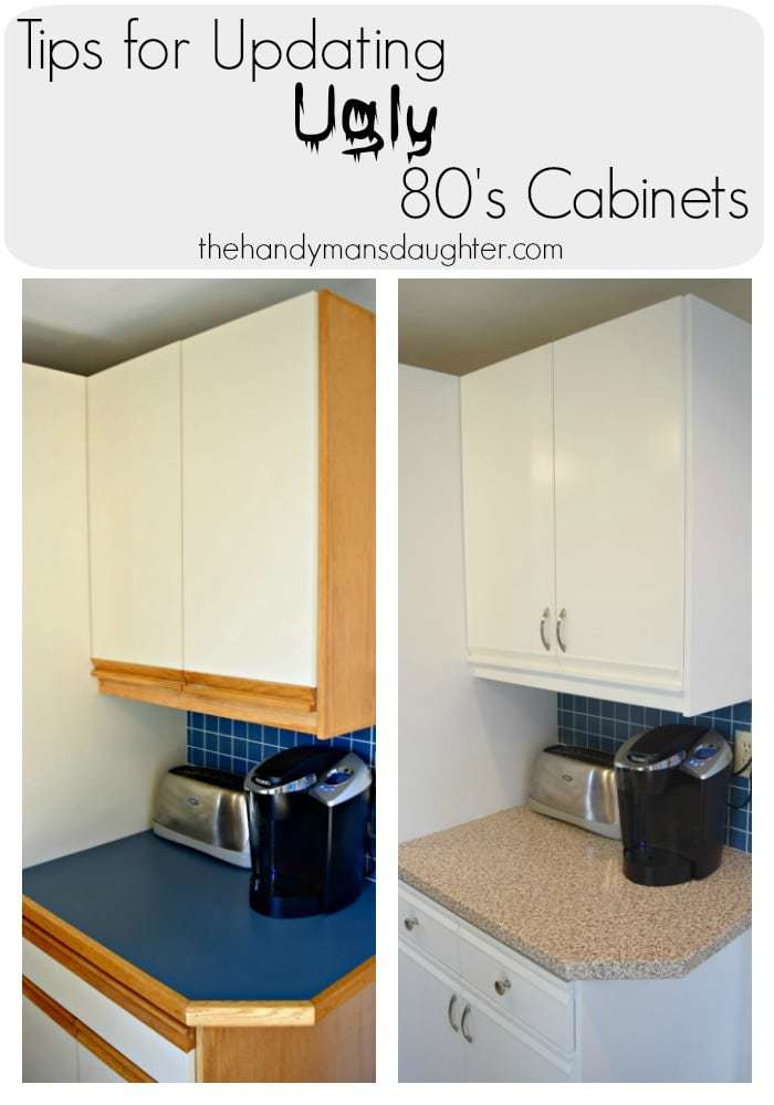 Updating these ugly 80's cabinets comes with its own unique challenges. These handy tips will help make the process easier, and bring your dated kitchen into a new century! - The Handyman's Daughter