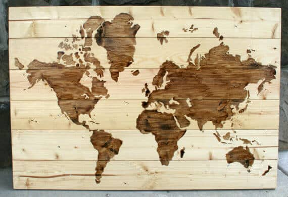 DIY Wooden World Map Art