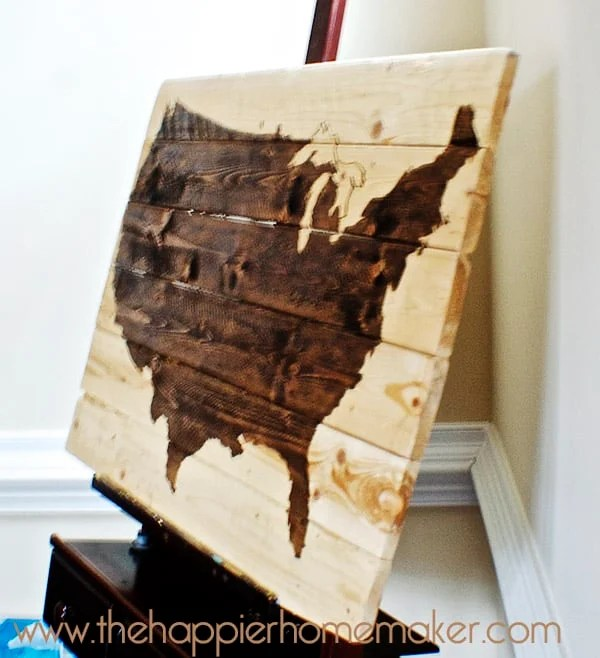 stained wood us united states map art diy