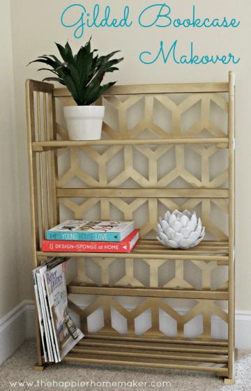 bookcase gold geometric