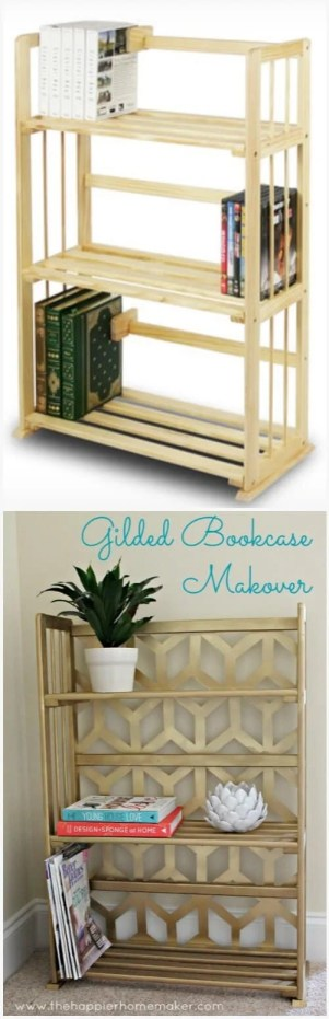 gilded geometric bookcase before after