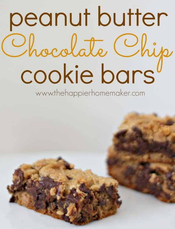 Peanut Butter Chocolate Chip Cookie Bars - The Happier Homemaker