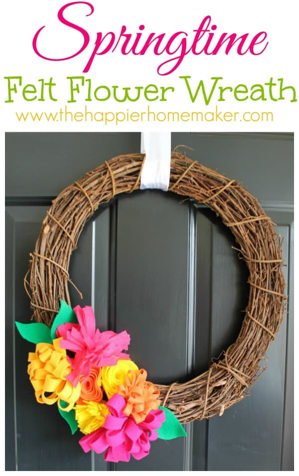 springtime felt flower wreath