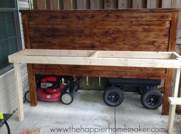 framing a diy potting bench