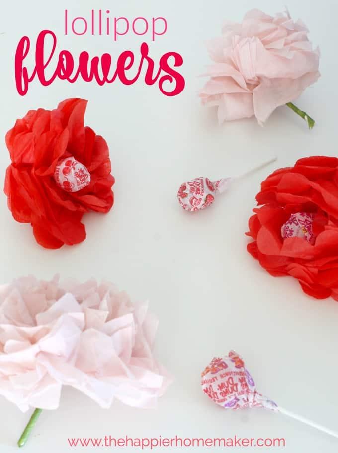 Valentine\u0027s Day Craft - Tissue Paper Flower Lollipops The Happier