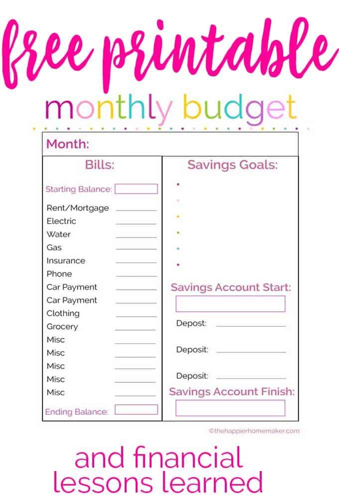 Meal Planner Printable The Happier Homemaker - free printable budget planner