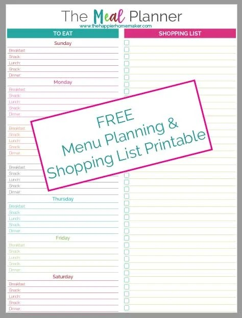 Meal Planner Printable The Happier Homemaker - weekly dinner planner with grocery list
