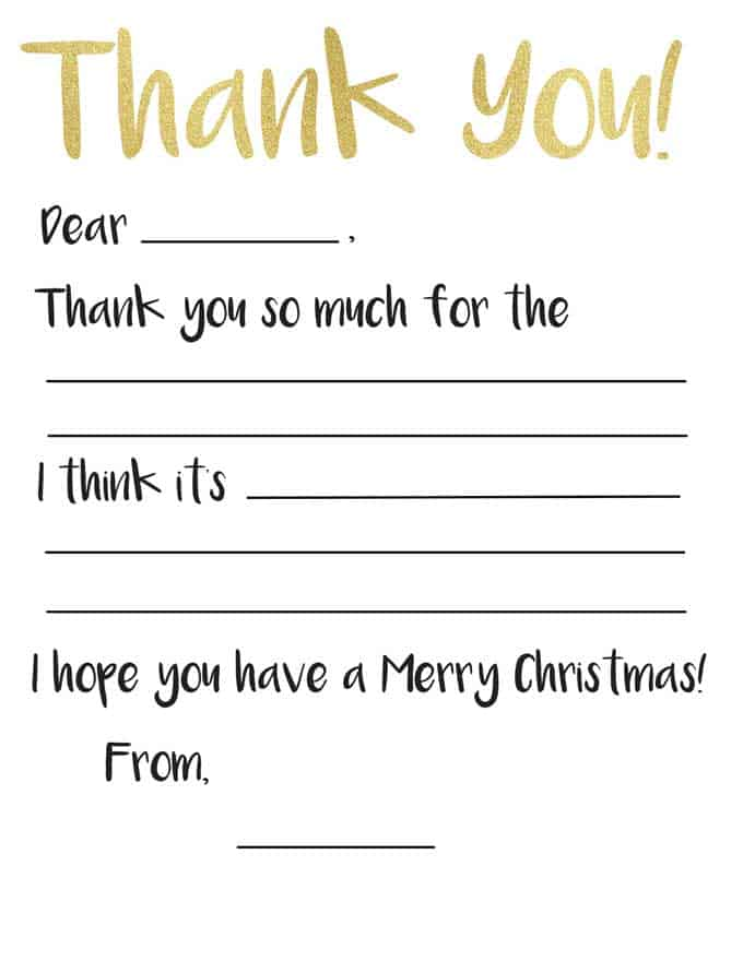 Kid\u0027s Thank You Card Printable The Happier Homemaker